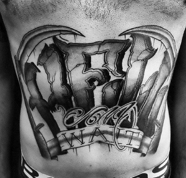 Violent Lettering Tattoo Male Torso