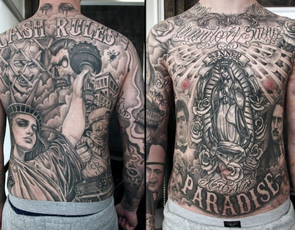 Virgin Mary Chicano Guys Full Chest And Back Tattoos