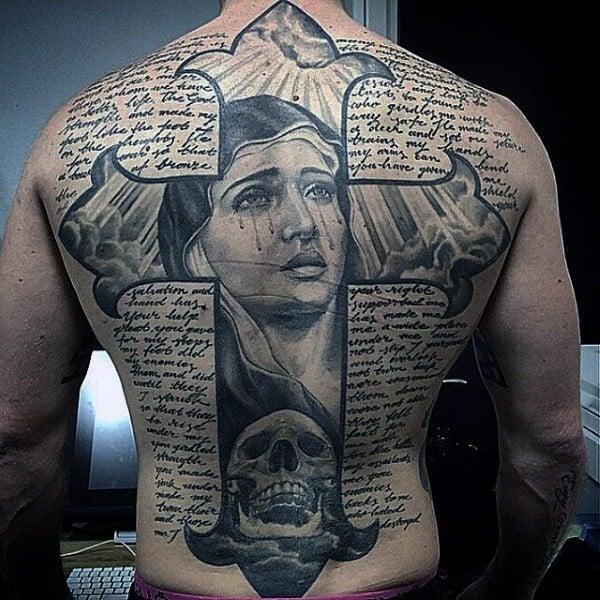 Virgin Mary Cross Guys Bible Script Back Tattoos