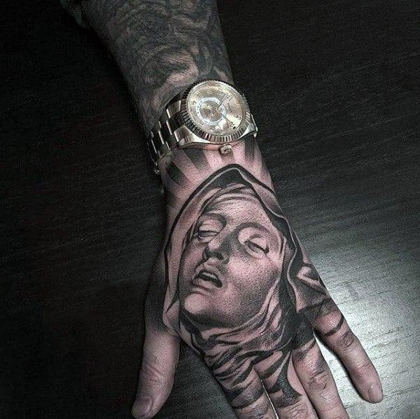 Virgin Mary Hand Tattoos For Men