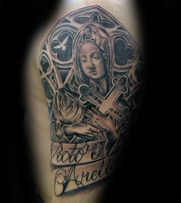 Virgin Mary Holding Cross With Church Windows Mens Half Sleeve Tattoos