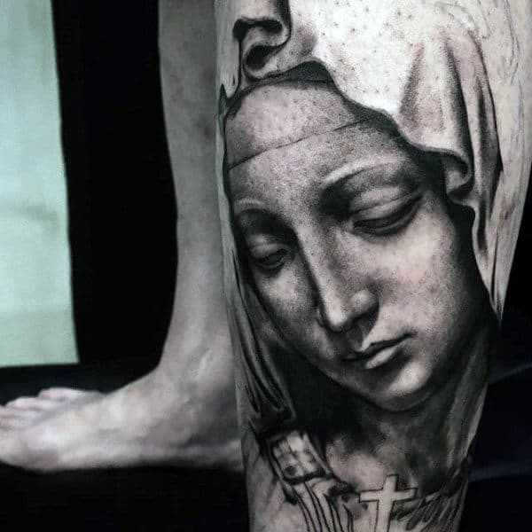 Virgin Mary Portrait Male Lower Leg Tattoo Ideas