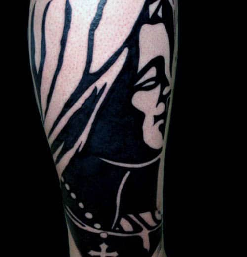 Virgin Mary Silhouette Guys Tattoo With Black Ink Design