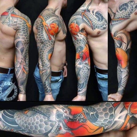 Viscious Grey Birds And Orange Blast Japanese Sleeve Tattoo Males