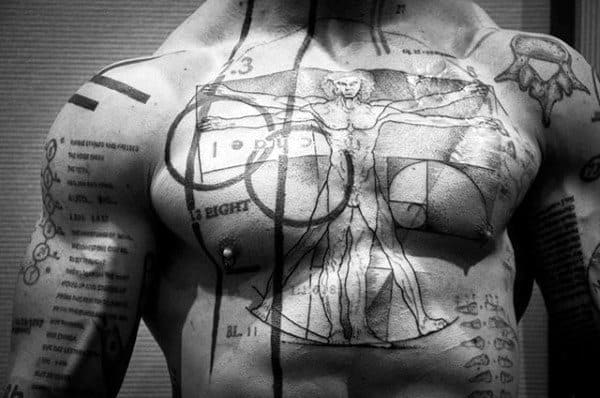 Vitruvian Man Abstract Mens Chest Tattoos