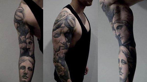 Vivid Full Sleeved Greek Gods Tattoos For Guys