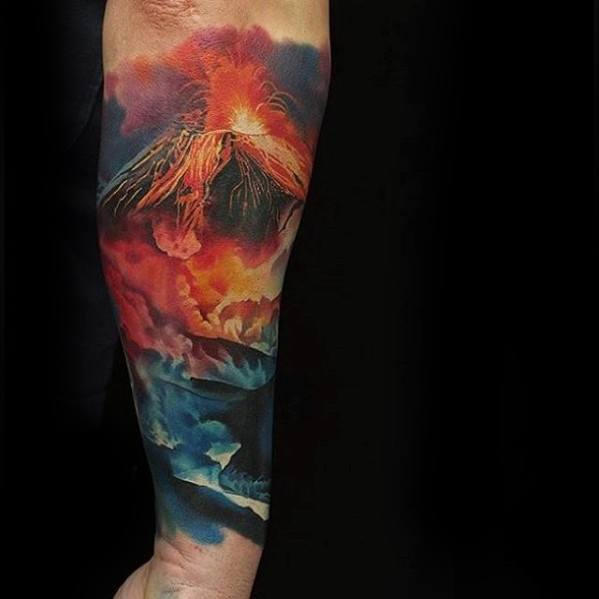 Volcano Erupting With Lava Realistic Forearm Sleeve Tattoo Design Ideas For Males