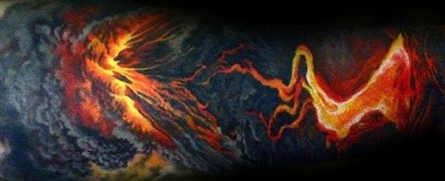 50 Volcano Tattoo Designs For Men – Erupting Hot Lava Ink Ideas