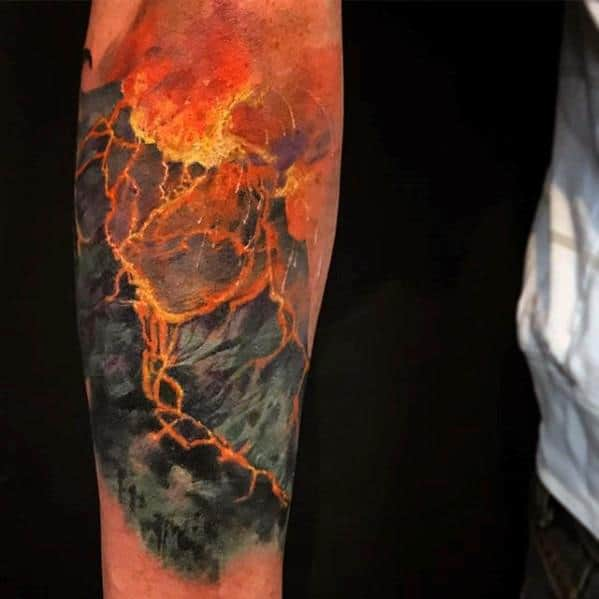 Volcano Tattoos Male On Inner Forearm