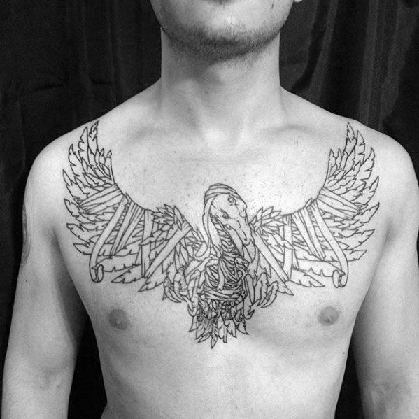 Vulture With Ribbon Guys Unique Chest Tattoo