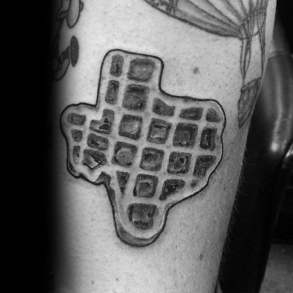 Waffle Texas State Shaped Tattoo Design Ideas For Men