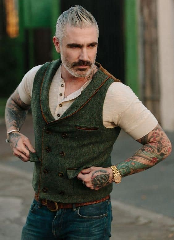 double breasted griffith park tweed waistcoat