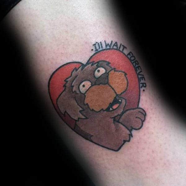 Wait Forever Dog Futurama Mens Heart Tattoos
