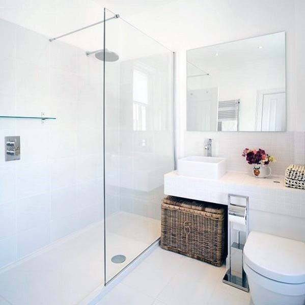 Walk In Glass Shower White Bathroom Ideas