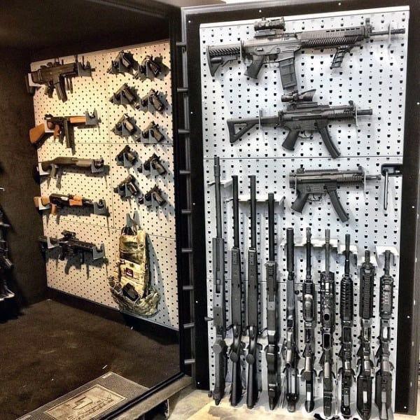 Walk In Gun Room Safe Vault With Rack On Door