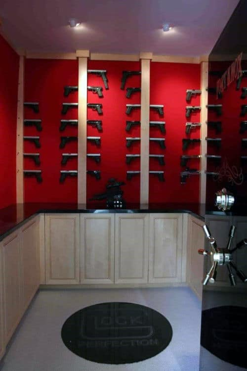 Walk In Gun Room Safe With Red Walls Glock Themed