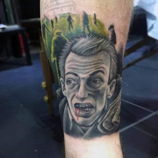 Walking Zombies Mens Leg Tattoo