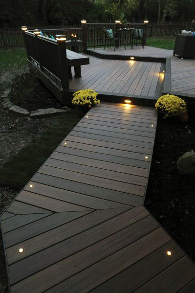 Walkway Small Circle Lights Deck Lighting Ideas