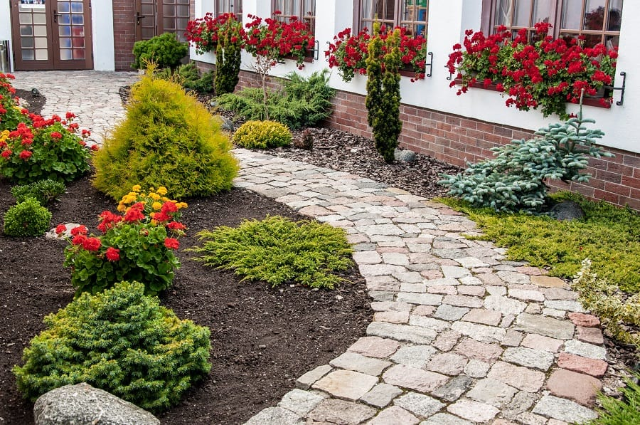 Red Stone Brick Pattern Walkway Ideas