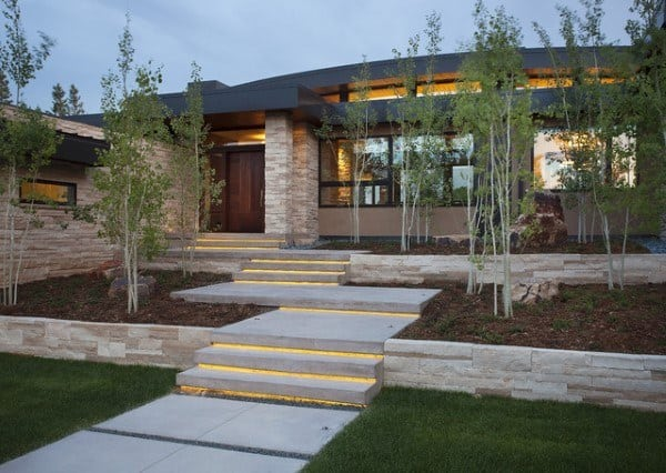 Walkways To Front Door Ideas With Led Lighting Under Steps