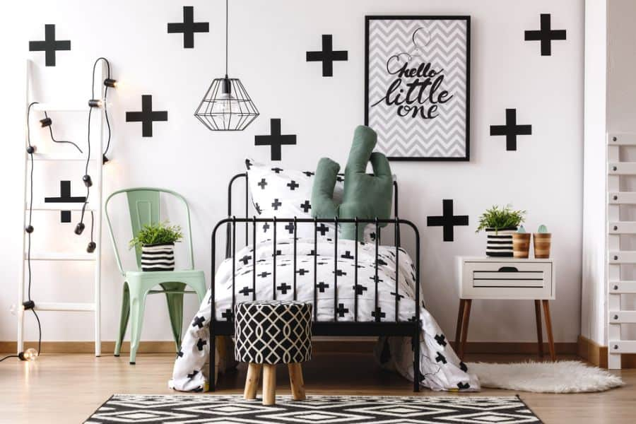 wall and ceiling black and white bedroom ideas 3
