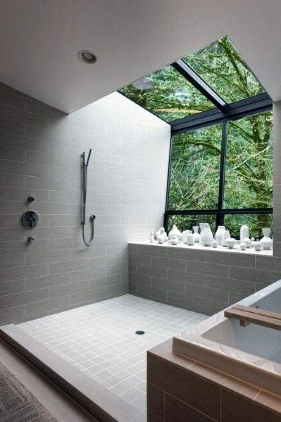 Wall And Skylight Shower Window Ideas