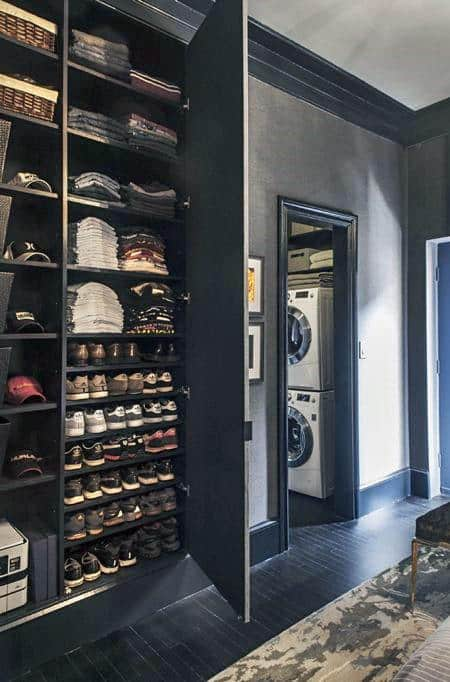 Wall Cabinet Closet With Laundry Room Design