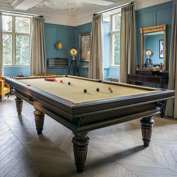 Wall Color And Hardwood Flooring Designs For Billiards Room