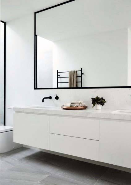 Wall Hung Vanity Minimalist White Bathroom Ideas