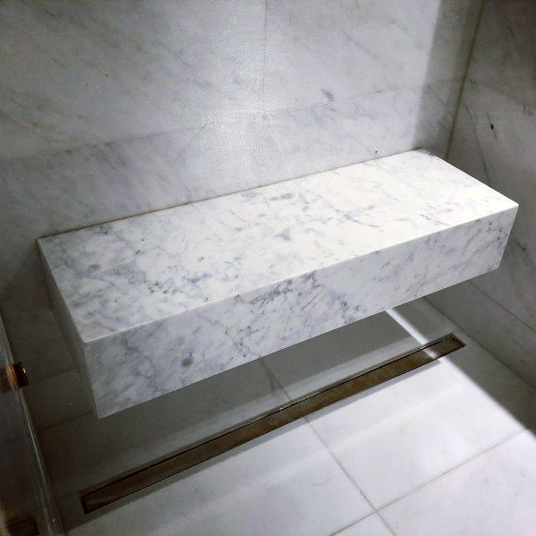 Wall Mounted Free Floating Marble Slab Cool Shower Bench
