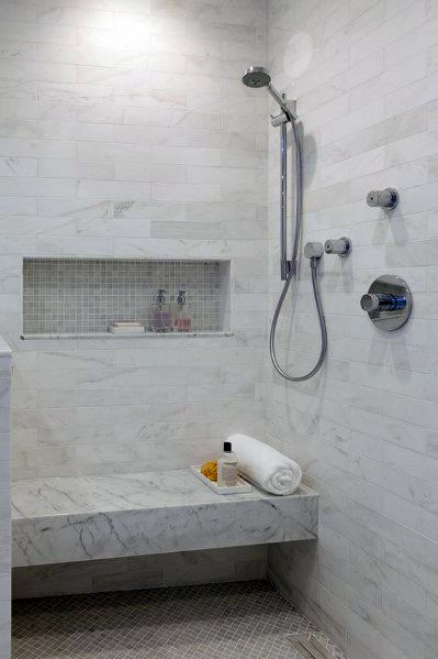 Wall Mounted Marble Tile Shower Bench Ideas