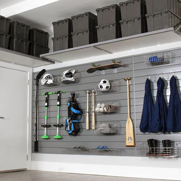 Wall Mounted Slat Board Garage Organizer Ideas