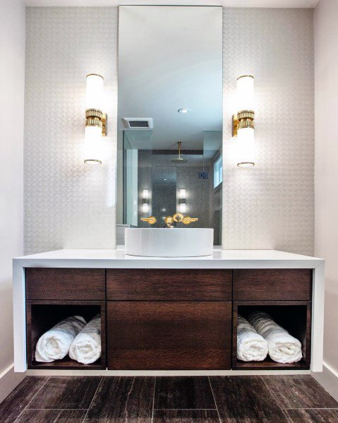 Wall Sconce Gold With White Led Sleek Bathroom Lighting Ideas