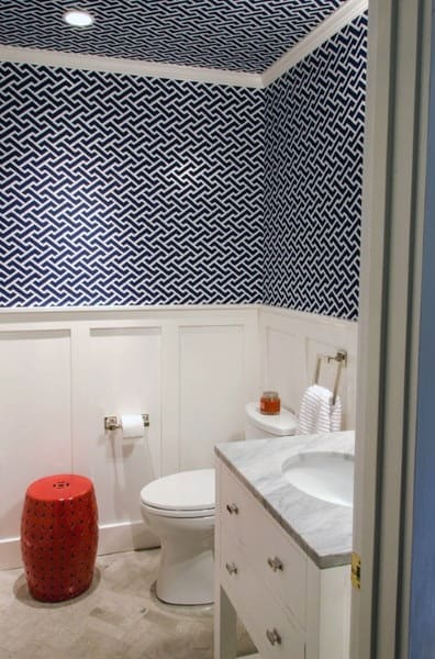 Wallpaper Blue Pattern Bathroom Ceiling Ideas