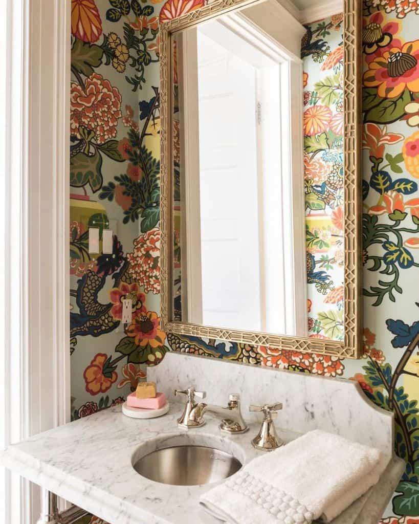 Wallpaper Powder Room Ideas Safferstoneinteriors
