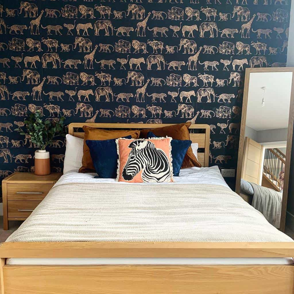 wallpaper with metallic prints and design bedroom wallpaper ideas redbricks_lifestyle