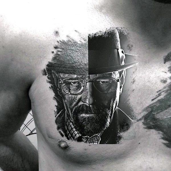 Walter White Breaking Bad Mens Chest Tattoos