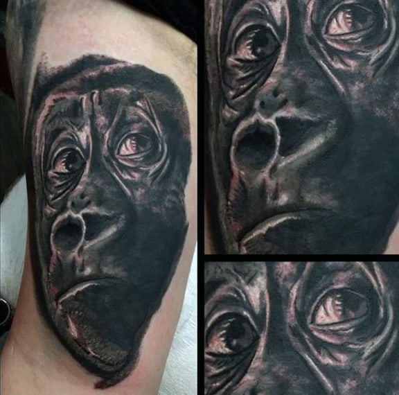 Wandering Eyes Guys Gorilla Tattoos On Bicep Of Man