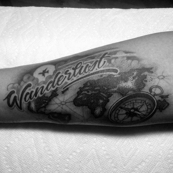 Wanderlust Black And Grey Ink Inner Forearm Tattoos For Males