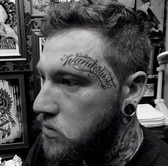 Wanderlust Male Face Word Lettering Tattoo Designs