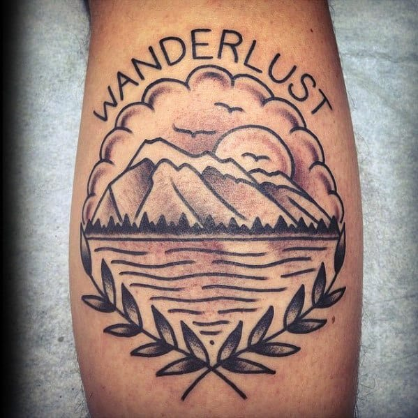 Wanderlust Mens Traditional Mountains Back Of Leg Tattoo
