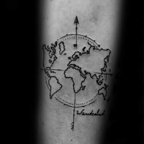 Wanderlust Tattoo For Men On Inner Forearm With World Map Design