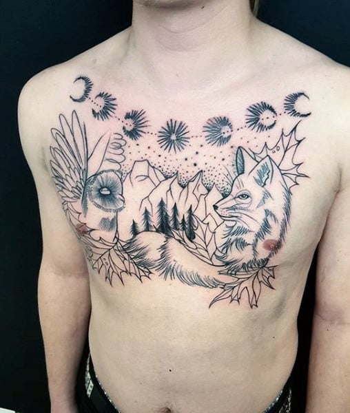 Waning Phases Of The Moon And Fox Tattoo Males Chest