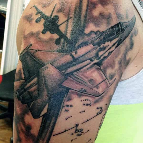 War Airplane Men's Tattoos