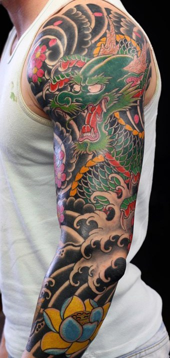 War Fight Japanese Sleeve Tattoo Guys