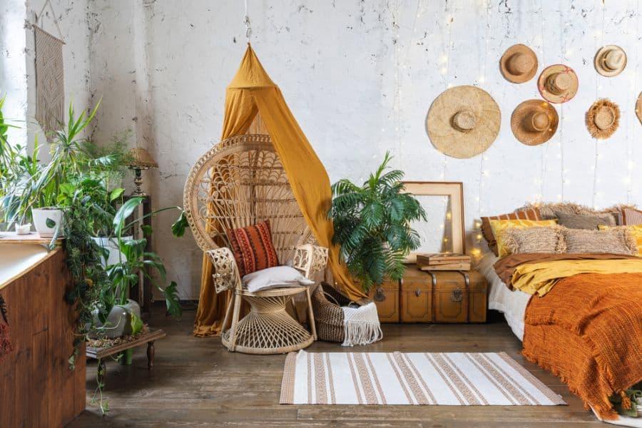 warm color boho bedroom ideas