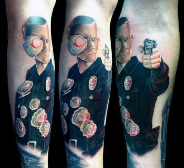 Warped Police Officer With Holes Mens Terminator Inner Forearm Tattoo