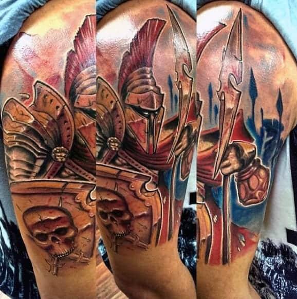 warrior-and-skull-quarter-sleeve-tattoo-for-men