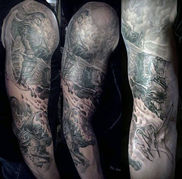 Warrior And Violence Tattoo Guys Full Sleeves