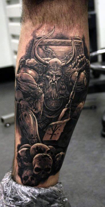 warrior-back-of-leg-tattoo